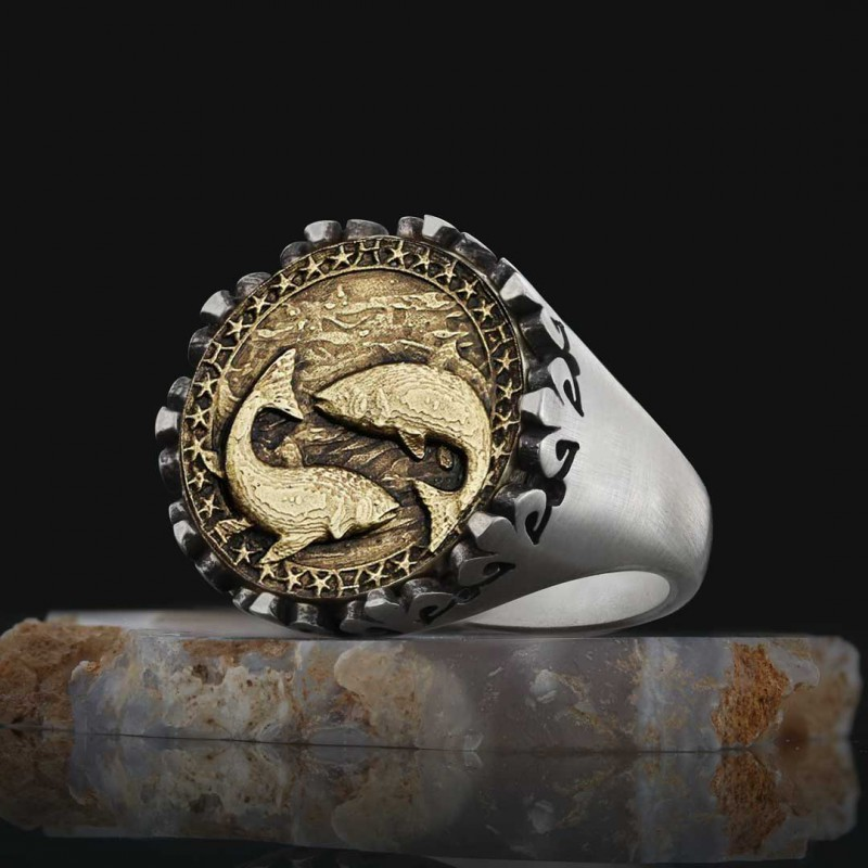 925 Sterling Silver Pisces Sign Ring