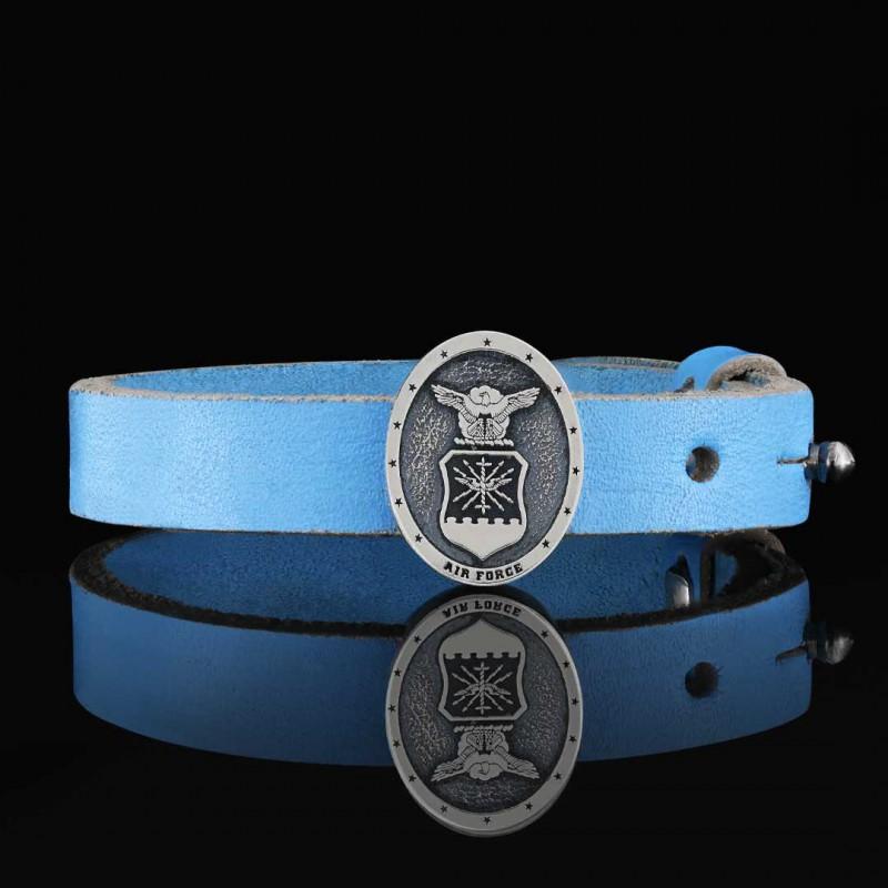 Custom Oval us Air Force Leather Bracelet