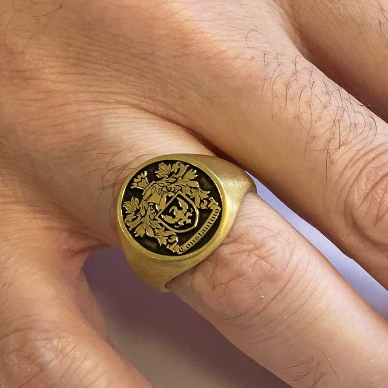 Oval Raised Family Crest Ring
