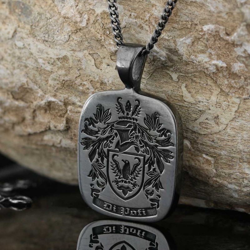 Square Engraved Family Crest Pendant