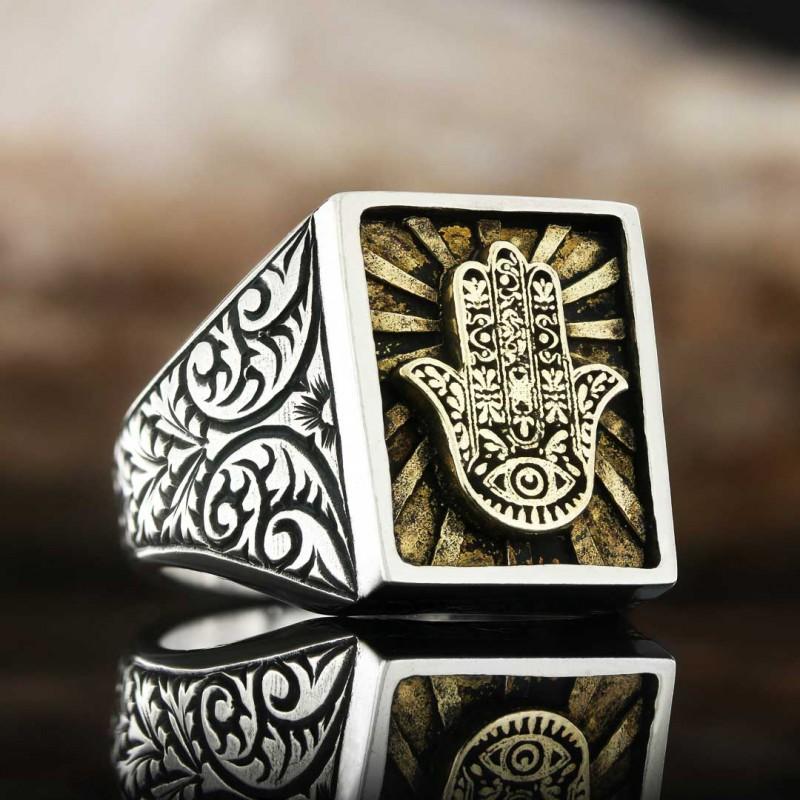 Hamsa Silver Jewish Ring
