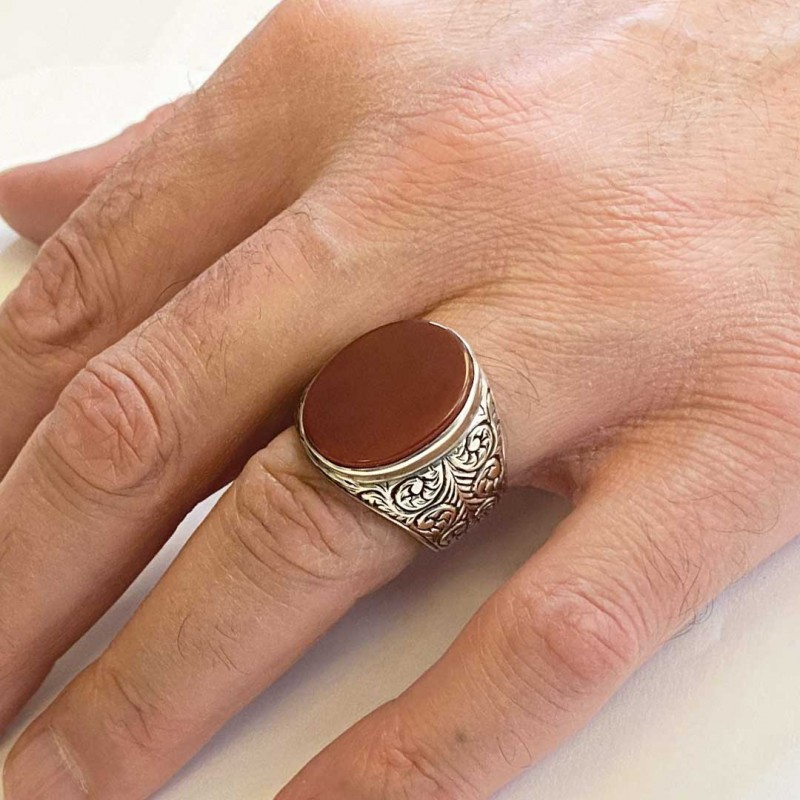 Men 925 Sterling Silver Ring With Unique Motif