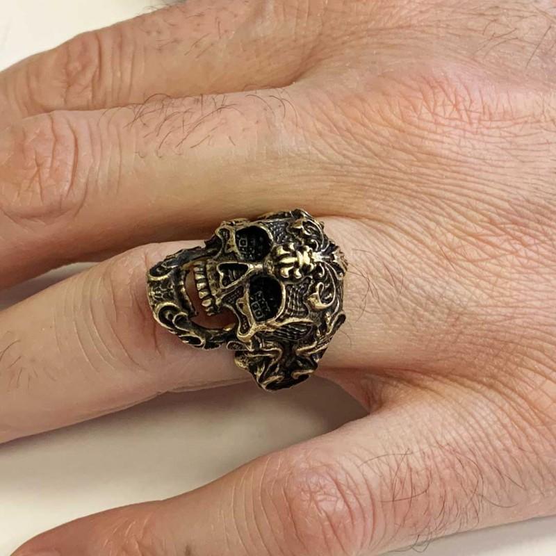 Patterned Skull Ring