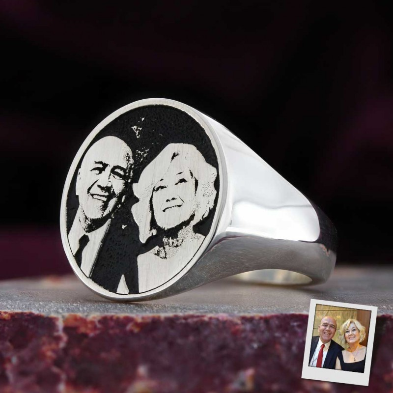 Photo Oval Silver Ring