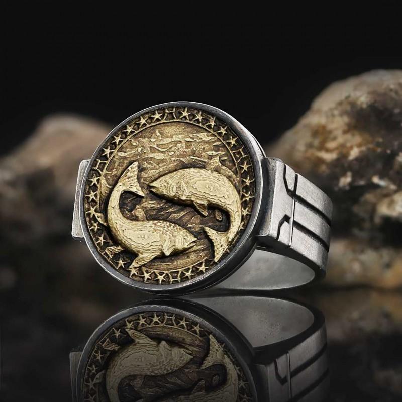 Pisces Zodiac Round Ring