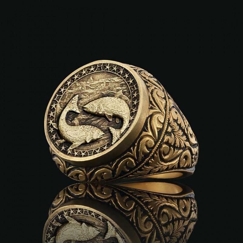 Pisces Zodiac Silver Ring