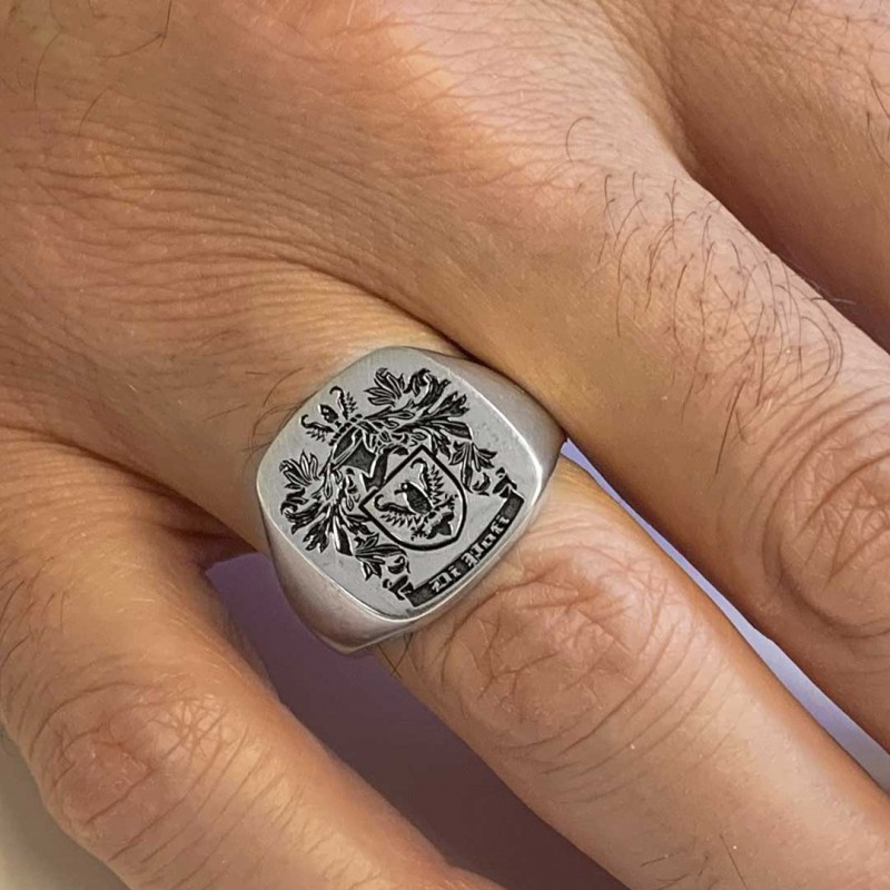 Square Engraved Family Crest Ring