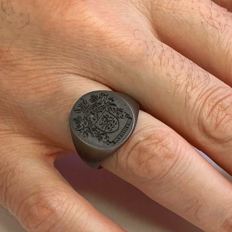 Oval Engraved Family Crest Ring
