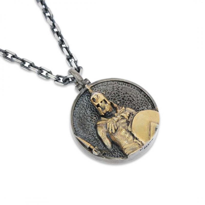 Unique Textured Round Spartan Men Necklace