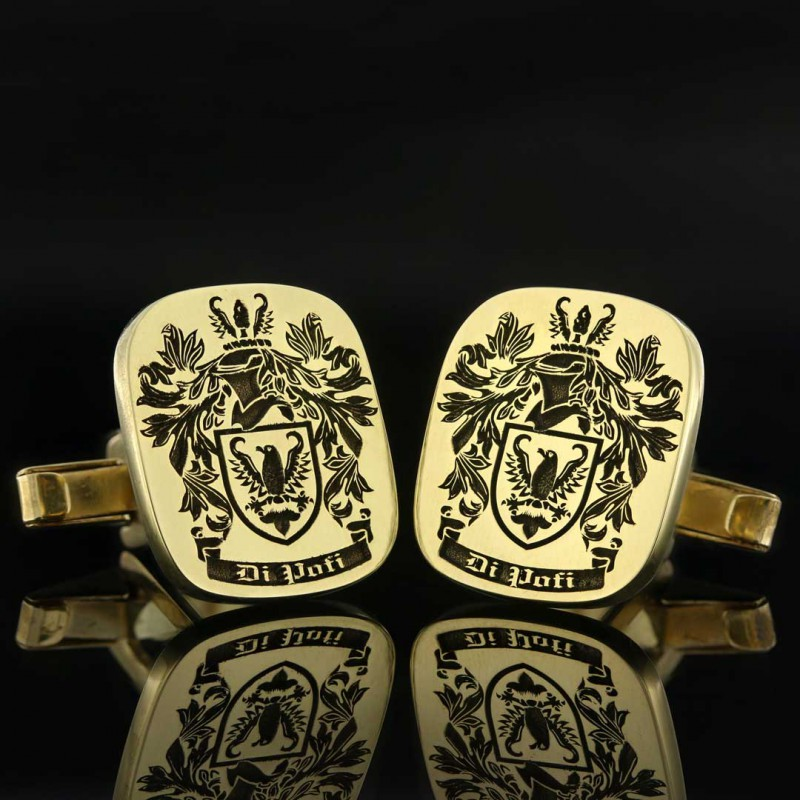 Square Engraved Family Crest Cufflink