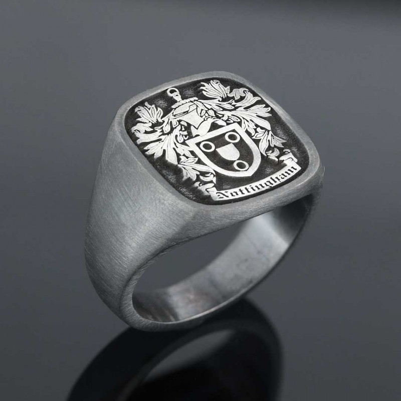 Square Raised Family Crest Ring
