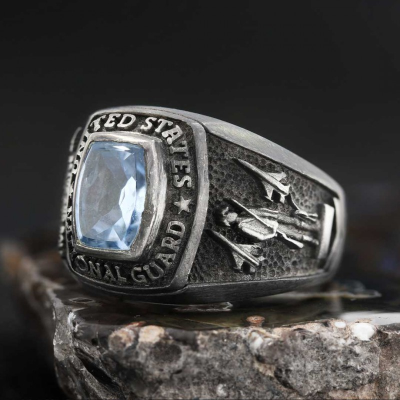 US National Guard Blue Stone Ring